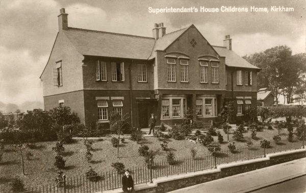 The Superintendent's House at the Fylde Union cottage homes on Moor Lane, Kirkham, Lancashire. The homes were built in 1913-14 on the site of the original Fylde Union workhouse after it was replaced by a new and larger building at Wesham