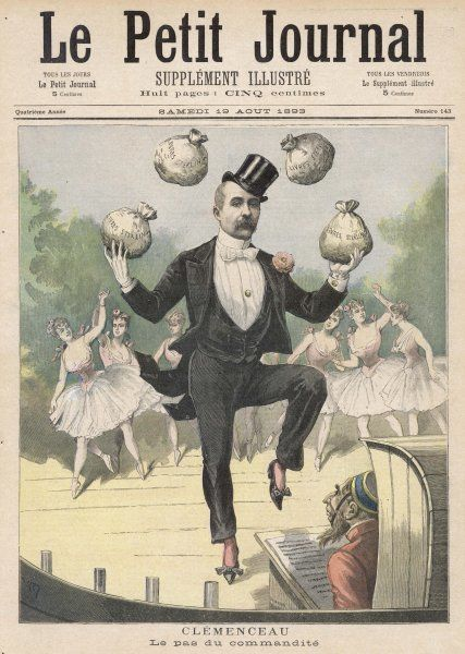 GEORGES CLEMENCEAU French statesman juggling with the British Pound: a satire on the subsidy of France by British cash