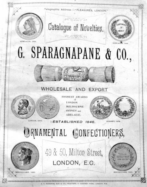 Catalogue cover for G Sparagnapane and Co, ornamental confectioners and manufacturers of Christmas crackers