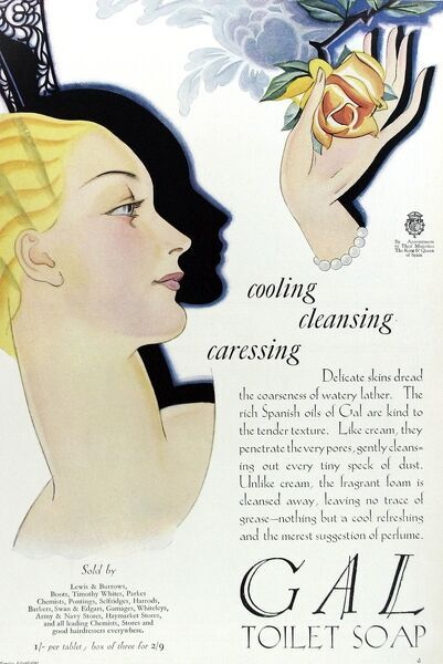 Full page colour advertisement for Gal toilet soap from 1929