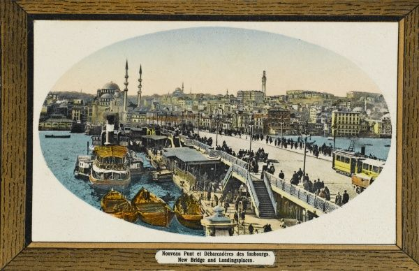 The New Bridge and landing places - also known as the Galata Bridge with the Yeni Cami Mosque (New Mosque) at the far end