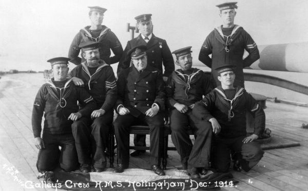 The galley's crew of HMS 'Nottingham' which will be sunk during the battle of Jutland two years from now. Date: 1914