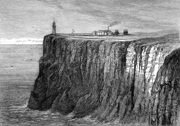 Engraving of the Galley Head Lighthouse, near Cape Clear, November 1879. A Board of Trade paper had been issued that year, praising the lighthouse and the quality of it's light