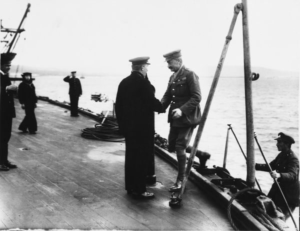 Captain Davidson of the HMS Cornwallis (last ship to leave Suvla Bay) meets General Byng on the gangway after the evacuation. General Sir Julian Byng was in command of Suvla and arranged for the evacuation