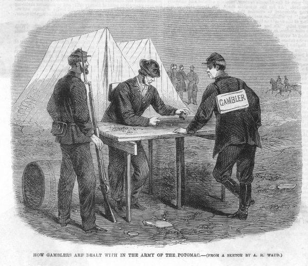 American Civil War soldiers are punished for gambling by being compelled to gamble