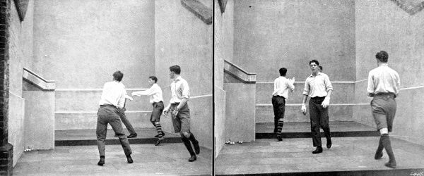 Two photographs showing a game of fives, played in one of the courts at Eton College, 1911