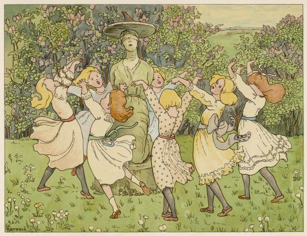 Players form a circle round a selected girl, singing 'She can dance and she can sing, she will wear a wedding ring&#39