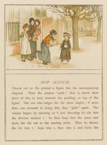 A group of Victorian children play hopscotch in the garden