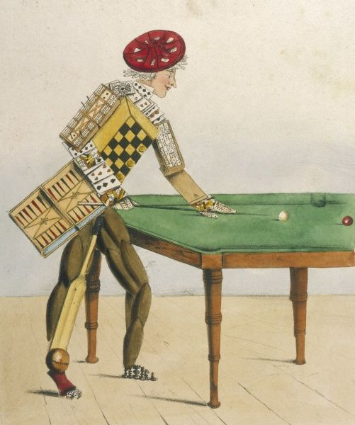 The Gamester: he plays billiards, and his body is made up of playing cards, board games, and a cricket bat and ball