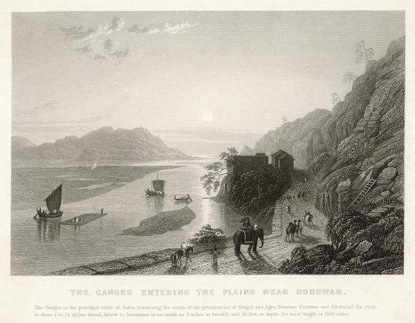 The Ganges near Hardwar, where it leaves the mountains and enters the plains