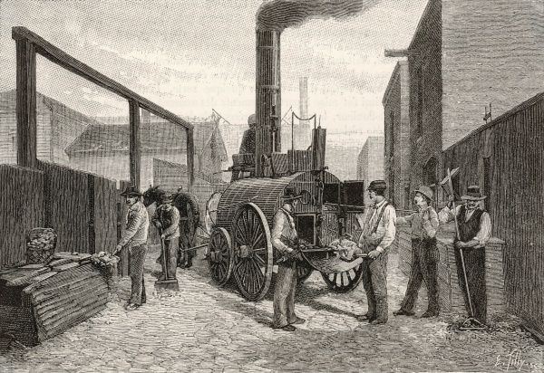 Travelling garbage burner (traction engine) for incinerating refuse in Chicago, USA