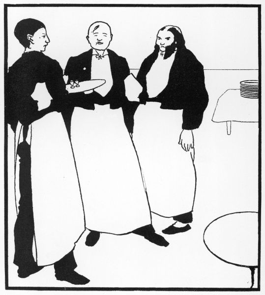 Garcons de Cafe. Three waiters stand and wait. Illustration by Aubrey Beardsley in The Yellow Book, volume II, July 1894