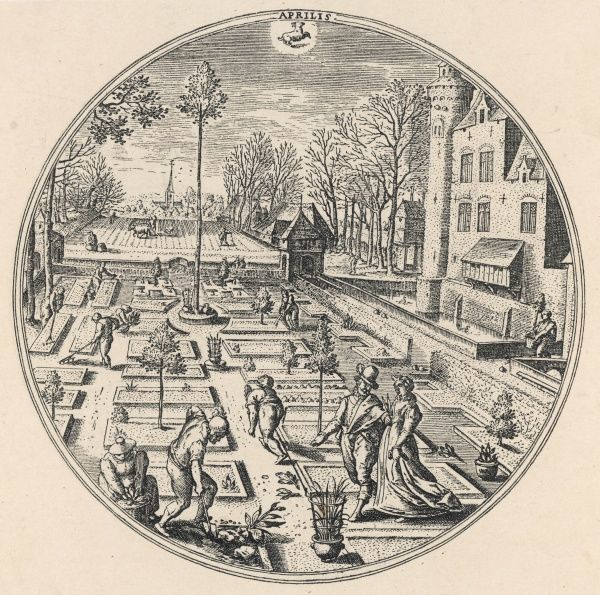 People, some of them gardening, in a formal Dutch garden. Date: 1570