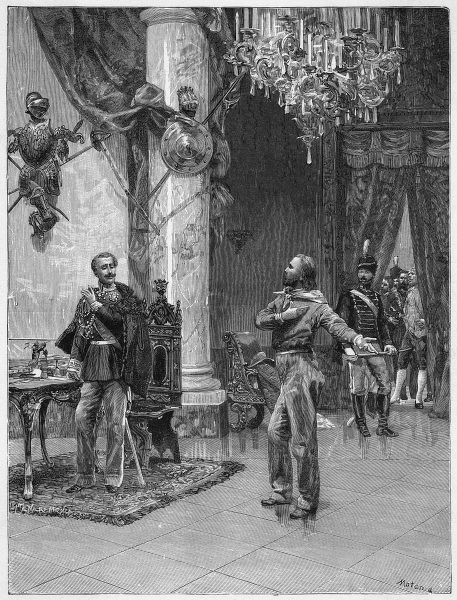 The meeting between Garibaldi and Carlo Alberto, king of Piedmont, when the king is persuaded to join in the war for independence from Austria