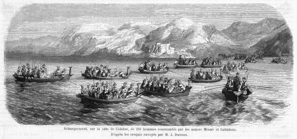 The invasion fleet carries Garibaldi's 'thousand' from Quarto, Sicily, to invade the Italian mainland