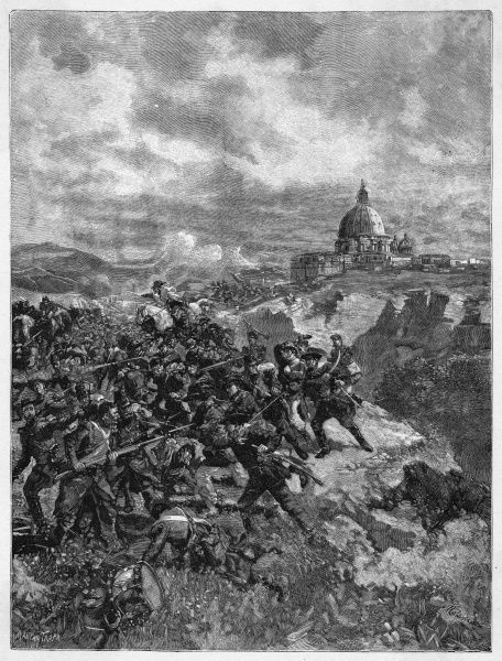Garibaldi successfully defends Rome against the first French attack under Oudinot