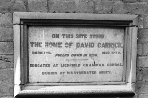 A stone plaque marking the site of the home of the great English actor DAVID GARRICK, at Lichfield, Staffordshire, England. Date: 1717 - 1779