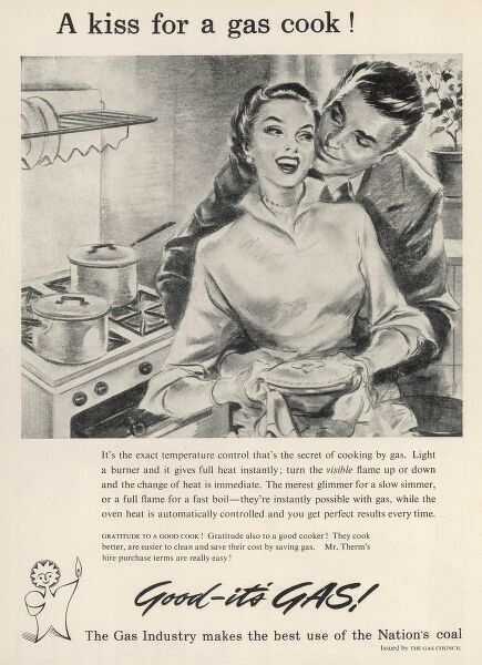 Advertisement by the Gas Industry promoting the use of coal-fired gas as fuel for gas cookers in the 1950s home