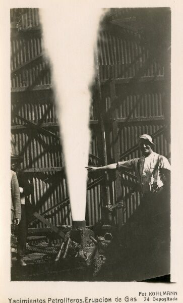Gas blow-out - Bolivia - the Yacimentos oilfield region Date: circa 1910s