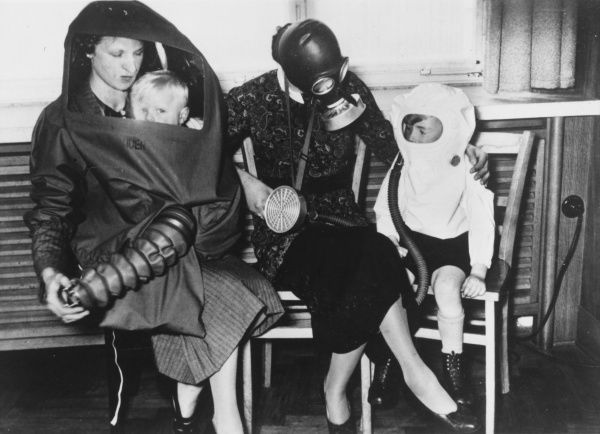 Gas Masks and protection for children and nursing mothers during World War II in 1940-1941