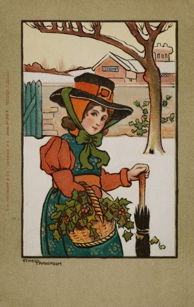 "A girl ""olden days"" clothes from an indistinguishable period fills her basket with holly amid the snow"