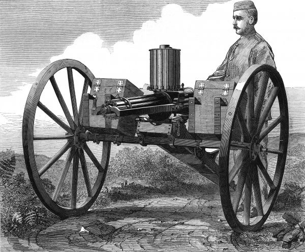 GATLING GUN Breech loading field artillery machine gun manufactured by Sir William Armstrong and Co. Date: 1872