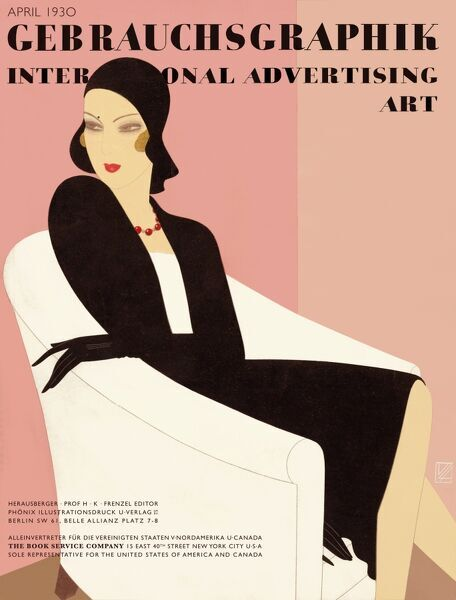 Front cover of Gebrauchsgraphik, the journal of international advertising art featuring an elegant woman in a black suit and hat sitting in a whiteh tub chair