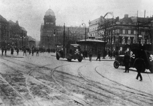 General strike in Berlin, showing Freikorps (probably Lutzow) in Alexanderplatz. Freikorps were used at this time to help suppress Communist uprisings