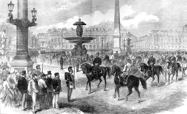 Illustration showing the parade of Prussian troops, led by General Blumenthal, Chief of Staff to the Prussian Crown Prince, through the Place de la Concorde, Paris, 1871