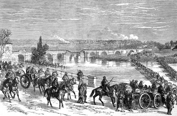 Illustration showing French troops, under the command of General Ducrot, crossing the Marne River to launch a counter attack against the Prussians, 29th November 1870