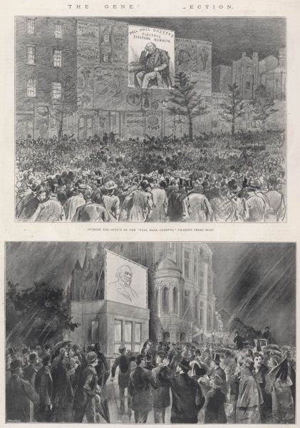 Scenes outside the Pall Mall Gazette (top) and the National Liberal Club (bottom) as crowds waited for the results of the General Election of 1895. With no other way to obtain up to the minute news of results, crowds would congregate outside newspaper offices