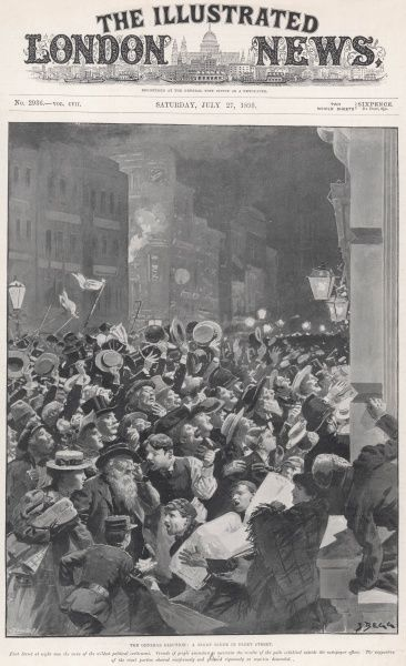 A night scene in Fleet Street showing crowds waited for the results of the General Election of 1895