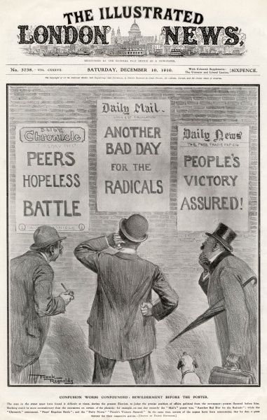 Three bewildered voters read the daily newspaper posters which give rather conflicting views on the status of their preferred political parties