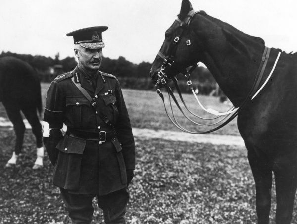 General Sir Henry Sinclair Horne (1861-1929) of the British First Army, with his horse at a First Army Horse Show, Chateau de la Haie (or Haye), northern France. Date: 25 June 1917