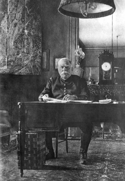 General Joseph Joffre (1852-1931), Commander of the French Army during the first half of the First World War, seen here sitting at his desk at headquarters. Date: circa 1916