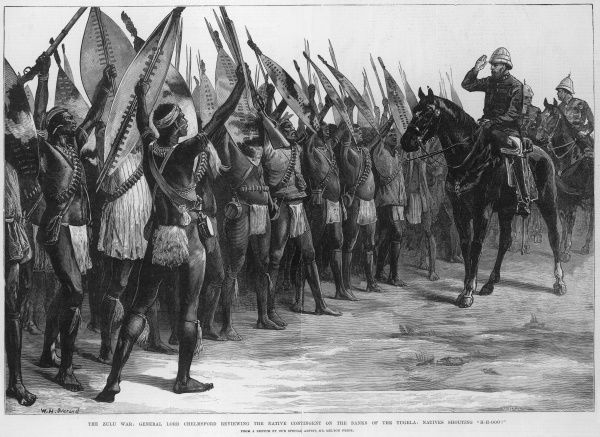 Engraving showing Lord Chelmsford on horse-back reviewing a group of Zulu warriors, who were working for the British army. The Zulu warriors are armed with rifles as well as their traditional shields and spears