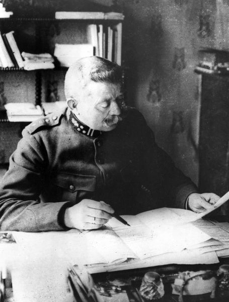 General Rucquoy, Chief of Staff of the Belgian Army, seen here at his desk during the First World War. Date: circa 1914-1918