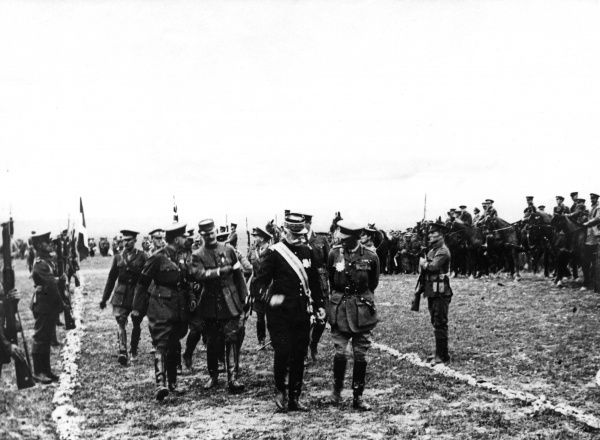 French General Sarrail (Maurice-Paul-Emmanuel Sarrail - 18561929) and General Mahon (Sir Bryan Thomas Mahon - 1862-1930 leaving the review ground - Lembet Camp, Salonika Front, Macedonia - 12th April 1916. Date: 1916