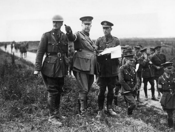 General Sir Arthur William Currie (1875-1933), Canadian general, directing a practice attack near the Canadian Front, Topart Mill, during the First World War. Date: June 1917