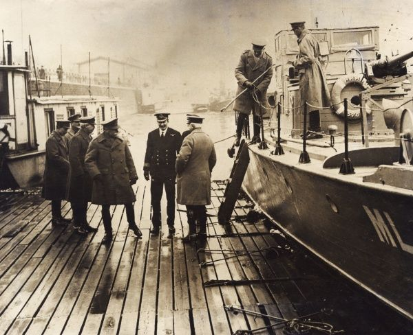 General Sir Henry Rawlinson (1864-1925), British army officer, with others on wooden decking at the side of a boat, either during or just after the First World War. Date: circa 1918-1919