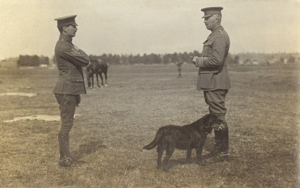 Brigadier General Sir Joseph Frederick Laycock (1867-1952) (left), British Army officer, speaking with a sergeant in a field. During the First World War he served in the Middle East, including a command of the Royal Artillery, ANZAC Mounted Division