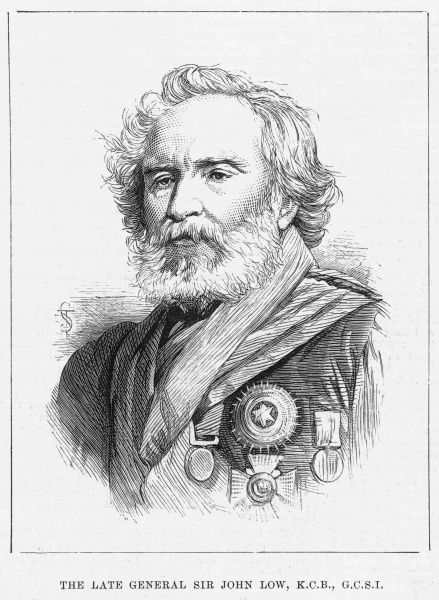 General Sir John Low(1788-1880), veteran officer enaged in the military and diplomatic service of the East India Company. He was made a Knight Commander of the Bath in 1862, and in 1873 a Knight Grand Cross of the Star of India