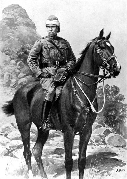 Illustration showing General Sir Redvers Henry Buller VC (1839-1908), the British military commander, on horseback during the Boer War, 1900