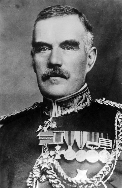 General Sir William Robertson (1860-1933) (later Field-Marshal Robertson), Chief of the Imperial General Staff during the latter part of the First World War. Seen here in dress uniform, with several medals. Date: circa 1917-1918