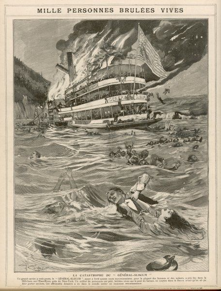 The American excursion paddle- steamer catches fire in New York's East River, and a thousand passengers - mostly women and children - burn or are drowned