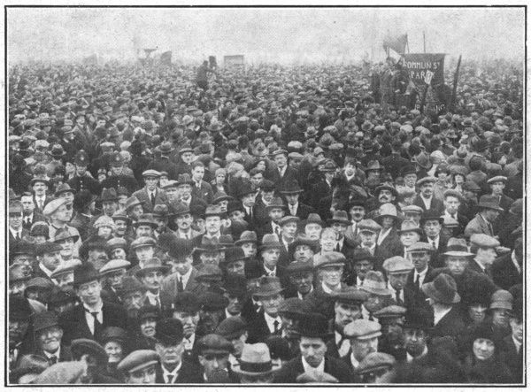 Labour's May Day in London: Listening to the open-air speaker in Hyde Park during the General Strike. In support of a strike by coal miners over the issue of threatened wage cuts, the Trades Union Congress called a General Strike in early May 1926