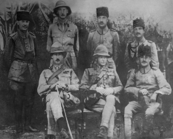 General Sir Charles Vere Ferrers Townshend (1861-1924), British Indian Army officer, seen here (seated, centre) in captivity after the siege of Kut Al Amara in Mesopotamia (now Iraq), during the First World War. Seated next to him (right) is Halil Kut