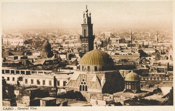 General view over the domes, minarets and rooftops of Cairo, Egypt