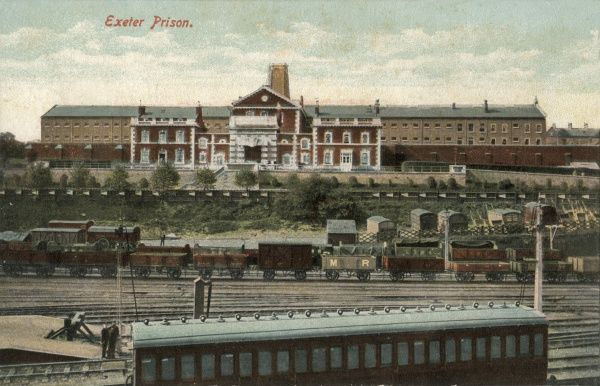 A general view of Exeter Prison in Devon. Railway lines in the foreground carry a variety of rolling stock including both goods wagons and passenger carriages