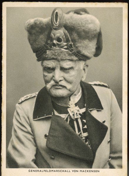 GENERAL AUGUST VON MACKENSEN German military commander wearing the famous 'Death's Head' headgear